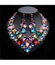 Shining Multi-layers Gem Fashion Costume Necklace and Earrings Set - Multicolor
