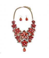 Cute Tiny Flowers Cluster Design Statement Necklace and Earrings Set - Red
