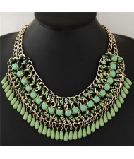 Bohemian Beads Fashion Rope and Alloy Weaving Handmade Costume Necklace - Green