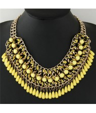 Bohemian Beads Fashion Rope and Alloy Weaving Handmade Costume Necklace - Yellow
