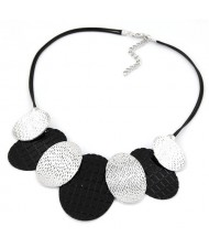 Silver and Black Coarse Oval Pendants Rope Statement Necklace