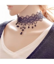 Vintage Style Black Lace Waterdrops Design Fashion Necklace