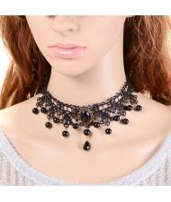 Korean Fashion Hollow Floral Pattern Black Lace Necklace