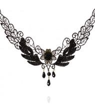 Hollow Lace Black Rose Fashion Necklace