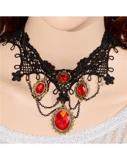 Gem Inlaid Gothic Fashion Hollow Lace Fashion Necklace - Red
