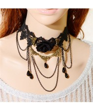 Gorgeous Rose Attached Chain Tassel Black Floral Lace Fashion Necklace