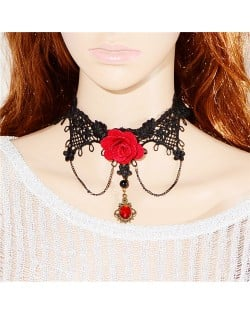 Red Rose Attached Tassel Fashion Lace Necklace