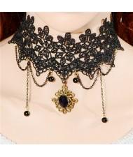 Classic Vintage Floral Pendant and Tassel Wide Style Black Lace Necklet