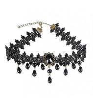 Street High Fashion Black Floral Lace Fashion Necklace