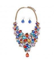 Cute Tiny Flowers Cluster Design Statement Necklace and Earrings Set - Multicolor