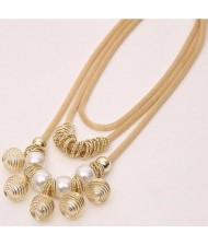 Golden Alloy Encircled Pearl Beads Fashion Multi-layer Chunky Necklace