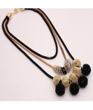 Golden Alloy Encircled Hollow Beads Fashion Black Wire Pendants Multi-layer Chunky Necklace