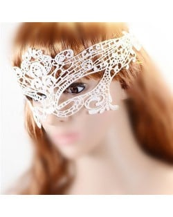 Classic Style Cutout Floral Pattern White Lace Mask/ Masquerade