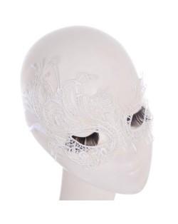 Artistic Asymmetric Vine Pattern White Lace Mask/ Masquerade