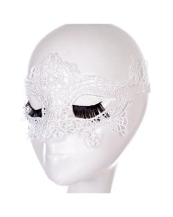 Hollow Floral Pattern Fashion Party White Lace Mask