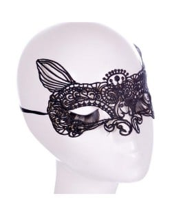 High Fashion Fox Face Hollow Black Lace Mask/ Masquerade