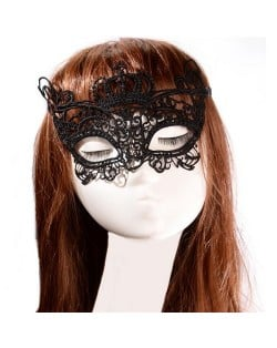Crown Fashion Hollow Floral Black Lace Mask