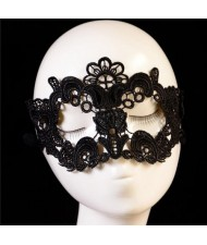 Flowers and Cross Combo Design Black Lace Mask