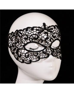 Propitious Clouds Cutout Design Black Lace Mask