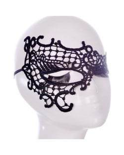 Butterfly Inspired Asymmetric Design Party Costume Black Lace Mask