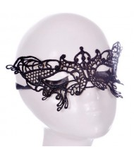 Gorgeous Butterfly Design Black Lace Mask