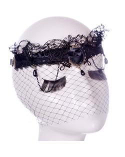 Vintage Black Lace with Tassel Design Great Lady Fashion Mask