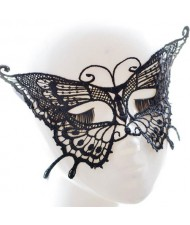 Graceful Butterfly Style Cutout Fashion Black Lace Party Mask