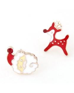 Santa Claus and Deer Asymmetric Design Fashion Ear Studs