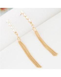 Pearls Inlaid Sweet Dangling Tassel Design Fashion Earrings - Golden