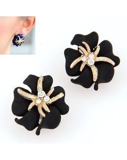 Golden Petal Morning Glory Fashion Ear Studs - Black