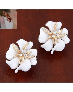 Golden Petal Morning Glory Fashion Ear Studs - White
