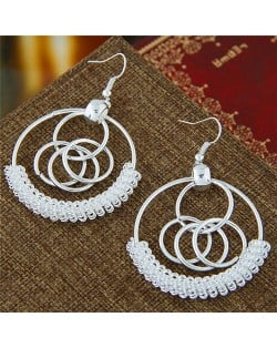 Wire Embellished Connected Silver Hoops Fashion Earrings