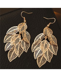 Hollow Cutout Alloy Leaves Design Costume Fashion Earrings - Golden