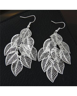 Hollow Cutout Alloy Leaves Design Costume Fashion Earrings - Silver