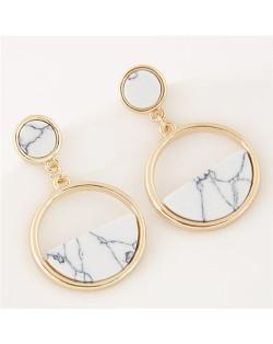 Resin Gem Inlaid Plain Fashion Dangling Golden Hoop Earrings - White