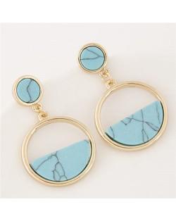 Resin Gem Inlaid Plain Fashion Dangling Golden Hoop Earrings - Teal