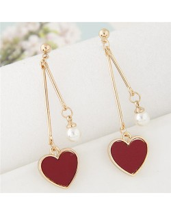 Sweet Heart and Pearl Fashion Dangling Ear Studs - Dark Red