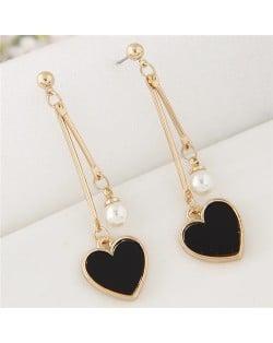 Sweet Heart and Pearl Fashion Dangling Ear Studs - Black