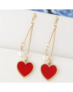 Sweet Heart and Pearl Fashion Dangling Ear Studs - Red