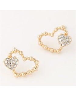 Czech Rhinestone Inlaid Hearts Theme Sweet Fashion Ear Studs - Golden