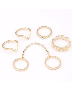 Simple Style Alloy Ring Set - Golden