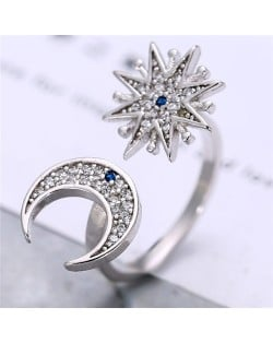 Cubic Zirconia Inlaid Moon and Star Asymmetric Design Fashion Ring