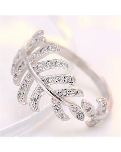 Korean Fashion Cubic Zirconia Decorated Curly Feather Design Ring - Silver