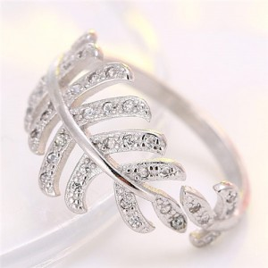 Korean Fashion Cubic Zirconia Decorated Curly Feather Design Ring