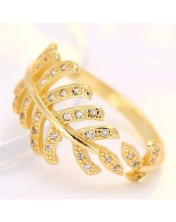 Korean Fashion Cubic Zirconia Decorated Curly Feather Design Ring - Golden