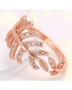 Korean Fashion Cubic Zirconia Decorated Curly Feather Design Ring - Rose Gold