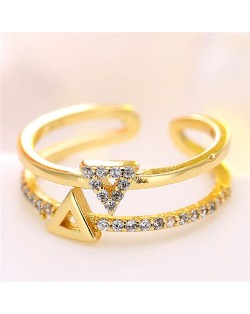 Cubic Zirconia Embellished Dual Triangles Shining Design Fashion Ring - Golden