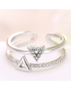 Cubic Zirconia Embellished Dual Triangles Shining Design Fashion Ring - Silver