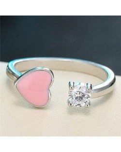 Cute Heart and Cubic Zirconia Open-end Design Fashion Ring - Pink