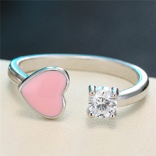 Cute Heart And Cubic Zirconia Open End Design Fashion Ring